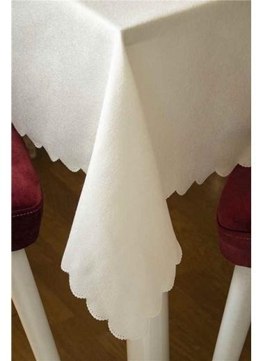 Maki 160x220 masa örtüsü 12 kişilik Krem Dökümlü Krem